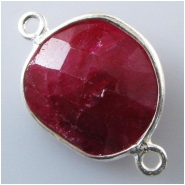 1 Ruby faceted bezel set silvertone connector gemstone bead (D) Approximate size 13 x 21mm to 14 x 22mm