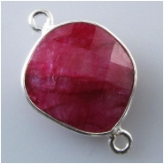1 Ruby faceted bezel set silvertone connector gemstone bead (D) Approximate size 13 x 22mm to 14 x 22mm