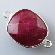 1 Ruby faceted bezel set silvertone connector gemstone bead (D) Approximate size 14 x 23mm to 16 x 24mm