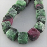 Ruby in Zoisite faceted puff cube gemstone beads (N) Approximate size 8.6 to 10.5mm 10 inch
