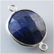 1 Sapphire faceted bezel set silvertone connector gemstone bead (D) Approximate size 13 x 20mm to 15 x 22mm