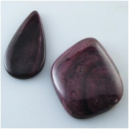 2 Spiny Oyster Shell purple cabochons inlay pieces (N) Approximate size range 15 x 30.2mm to 23.4 x 31.6mm