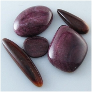 5 Spiny Oyster Shell purple cabochons inlay pieces (N) Approximate size range 12.1 x 12.8mm to 19.6 x 25.7mm