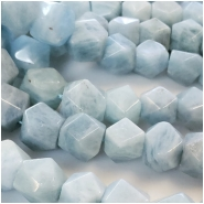 5 Aquamarine Faceted Nugget Bead (N) Approximate size 10.38 to 13.23mm