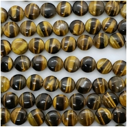 Tiger Eye Coin Gemstone Beads (N) Approximate size 9.98 to 10.53mm 15.75 to 16 inches