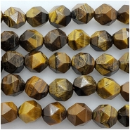 Tiger Eye Faceted Diamond Shape Gemstone Beads (N) Approximate size 8.3 x 9mm to 9.4 x 10.64mm 14.5 to 15 inches