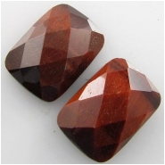 2 Tiger Eye red faceted AAA rectangle loose cut gemstone cabochons (H) Approximately 9.8 x 14mm CLOSEOUT