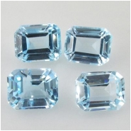 4 Sky Blue Topaz faceted octagon loose cut gemstones (I) Approximate size 4 x 6mm