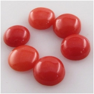 3 Mediterranean coral round loose cut cabochon gemstones (N) Approximate size 3.8 to 4.2mm diameter, 1.6 to 2.3mm deep