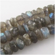 Labradorite hand cut faceted rondelle gemstone beads (N) Approximate size 5mm 14 inch Good flash