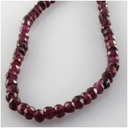Garnet faceted hand cut rondelle gemstone beads (N) Approximate size 3.6 to 4.2mm 12.5 inch