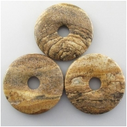 1 Picture Jasper donut pendant gemstone bead (N) Approximate size 50mm 10mm hole