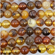 Baltic Amber Varigated Hand Cut 5.5mm Round Gemstone Beads (N) Approximate size 5.5 to 5.7mm 7.75 to 8 inches