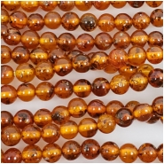 Baltic Amber Dark Cognac Hand Cut 3mm Round Gemstone Beads (N) Approximate size 3 to 3.2mm 16 inches
