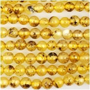Baltic Amber Yellow Hand Cut 3.5mm Round Gemstone Beads (N) Approximate size 3.5 to 4mm 16 inches