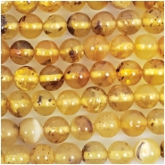Baltic Amber Yellow Hand Cut 5mm Round Gemstone Beads (N) Approximate size 4.58 to 5.12mm 16 inches