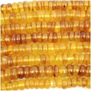 Baltic Amber Yellow to Honey Smooth Hand Cut Rondelle Gemstone Beads (H) Approximate size 2.4 x 6.7mm to 4.8 x 7.4mm 8 inches