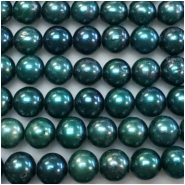 Pearl Freshwater Iridescent Teal Oval Beads (D) Approximate size 7.8 x 8.28mm to 8.3 x 8.55mm 16 inches