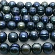 Pearl Freshwater Iridescent Deep Blue Teal Ringed Oval Beads (D) Approximate size 8.4 x 9mm to 9.1 x 9.7mm 44.5 inches