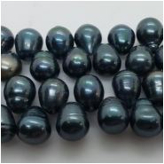 Pearl Freshwater Iridescent Dark Green Ringed Drop Beads (D) Approximate size 8.5 x 10.2mm to 9.5 x 13mm 16 inches