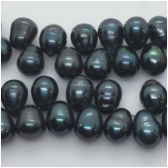 Pearl Freshwater Iridescent Dark Green Ringed Drop Beads (D) Approximate size 8.8 x 10.6mm to 9.5 x 14mm 16 inches