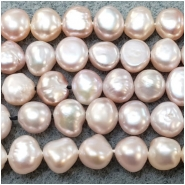 Pearl Freshwater Iridescent Light Peach Irregular Flat Back Beads (D) Approximate size 5.85 x 6.2mm to 6.8 x 7.6mm 16 to 17 inches