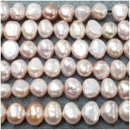 Pearl Freshwater Iridescent Light Peach to Lavender Irregular Flat Back Beads (D) Approximate size 5.9 x 6.8mm to 6.9 x 7.9mm 18 inches