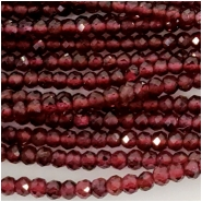 Garnet Rhodolite 2.5mm Faceted Round Gemstone Beads (D) Approximate size 2.3 to 2.52mm 12.75 to 13 inches