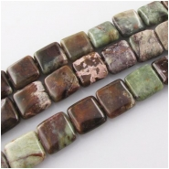 African green opal puff square gemstone beads (N) Approximate size 10mm 3.5 to 4.8mm thick 15.5 inch