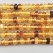 Amber Multi Color Rondelle Gemstone Beads (N) Approximate size 4.95 to 5.2mm wide, 9 inches