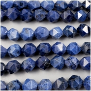 Dumorterite Faceted Star Cut Round Gemstone Beads (N) Approximate size 7.4 to 8.3mm long, 7.75 inches