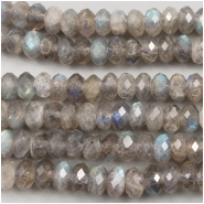 Labradorite Diamond Cut Faceted Rondelle Gemstone Bead (N) Approximate size 5.7 to 6.1mm wide, 4 inches