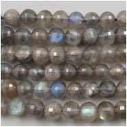 Labradorite Disco Cut Faceted Round Gemstone Bead (N) Approximate size 5.5 to 6mm wide, 7.75 inches
