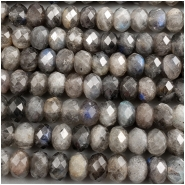 Labradorite Diamond Cut Faceted Rondelle Gemstone Bead (N) Approximate size 5.7 to 6.3mm wide, 4 inches