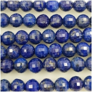 Lapis Faceted Disco Cut Round Gemstone Bead (N) Approximate size 6mm, 7.75 to 8 inches