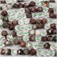 Green Lodolite Quartz Star Cut Gemstone Bead (N) Approximate size 4.5 to 5.1mm width, 5.2 to 5.75mm length, 15 inches