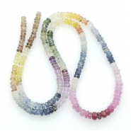 Sapphire Multi Color Faceted Rondell Gemstone Bead (N) Approximate size 3.17 to 4.01mm, 16.25 inches