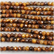 Tigereye Faceted Round Gemstone Beads (N) Approximate size 2x2.4mm, 12.75 inches