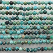 Turquoise Hubei Faceted 2mm Round Gemstone Beads (S) Approximate size 1.87 to 2.13mm 13 inches
