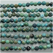 Turquoise Hubei Faceted 2.5mm Round Gemstone Beads (S) Approximate size 2.62 to 2.81mm 12.5 inches