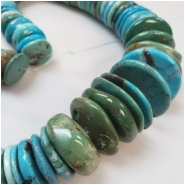 Hubei Turquoise Old Stock Graduated Irregular Disc Gemstone Beads (S) Approximate size 17 to 30.15mm 16 inches