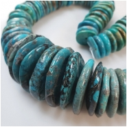 Hubei Turquoise Old Stock Graduated Irregular Disc Gemstone Beads (S) Approximate size 15.99 to 33.98mm 16 inches