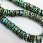 Hubei Turquoise Center Drilled Thick Disc Gemstone Beads (S) Approximate size 12.91 to 15.92mm 4.75 inches
