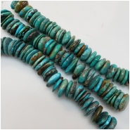 Hubei Turquoise Old Stock Center Drilled Disc Gemstone Beads (S) Approximate size 14.5 to 17.87mm 5.25 inches