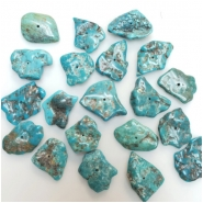 3 Hubei Turquoise Old Stock Center Drilled Seafoam Slice Gemstone Beads (S) Approximate size 15.78 x 18.8mm to 18 x 26.5mm