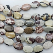 Dendritic Jasper Smooth Oval Gemstone Beads (N) Approximate size 12.83 x 17.78mm to 13.19 x 18.23mm 15.75 inches