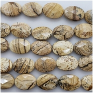 Picture Jasper Faceted Oval Gemstone Beads (N) Approximate size 13.14 x 18.23mm to 13.46 x 18.58mm 8 inches