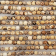 Picture Jasper Faceted Round Gemstone Beads (N) Approximate size 3.18 to 3.32mm 15 to 15.5 inches