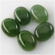 2 Nephrite Jade oval loose cut cabochon gemstones (N) Approximate size 7 x 9mm