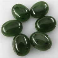 2 Nephrite Jade dark oval loose cut cabochon gemstones (N) Approximate size 7 x 9mm